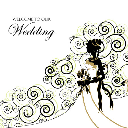 Wedding Graphic; Use as Invitation or Photo Album Cover Vector