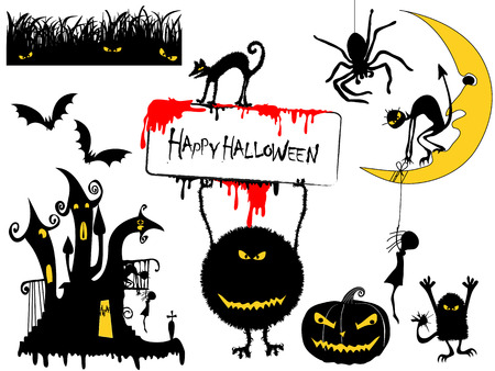 Various Halloween Design Elements Illustration