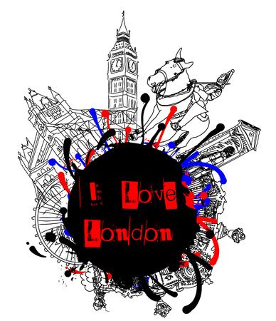 I Love London Grunge Vector