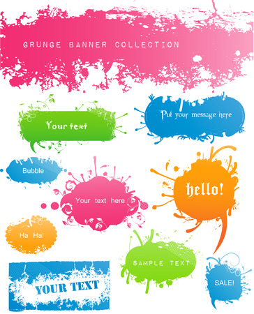Variety of Modern Colored Grungy and Floral Banners Stock Vector - 6128922