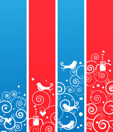 Set of Cute Christmas Holiday Banners or Bookmarks