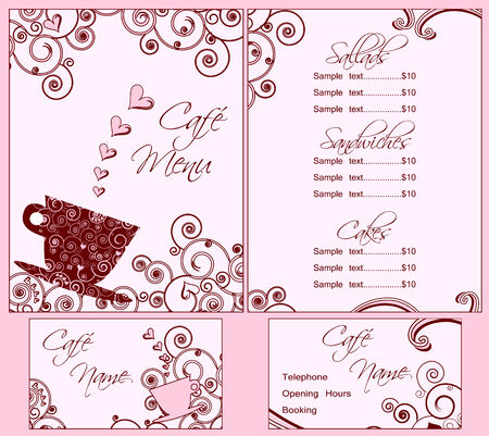 Cute Pink Cafe Menu and Business Card Templates, Both Back and Front Stock Vector - 6129148