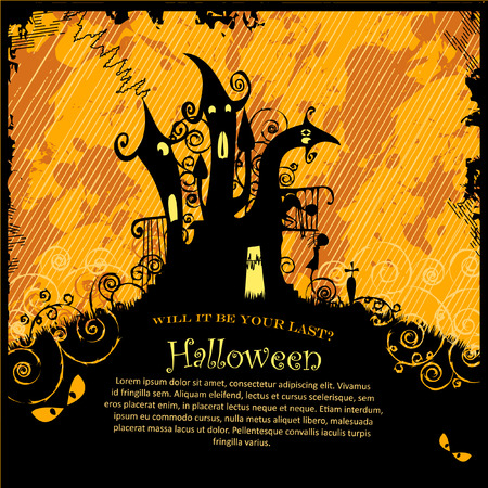 Scary Halloween Castle with Copy Space Illustration