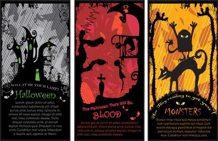 Set of 3 Vertical Halloween Banners Vector
