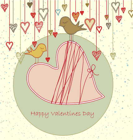Valentine Greeting with Cute Birds Stock Vector - 6226125