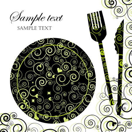 dinner: Menu or Invitation for Dinner, Parties and Showers Illustration