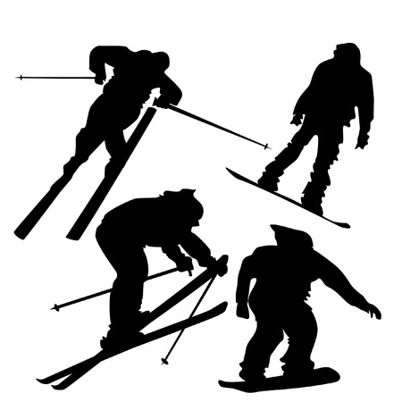 4 silhouettes of skiers and snowboarders in action.