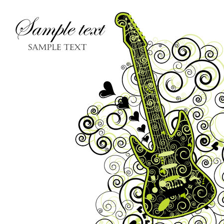 Event Invitation with Guitar Stock Vector - 6226126