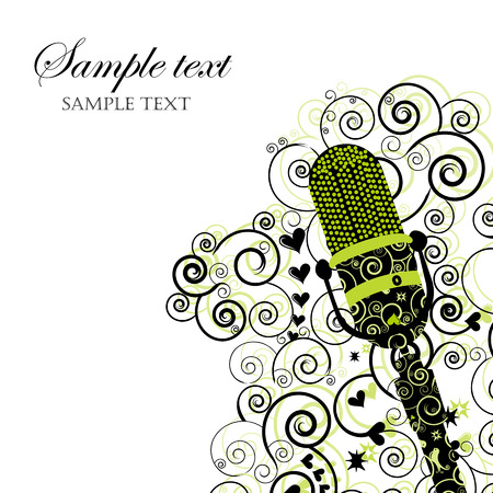 Event Invitation with Microphone Illustration