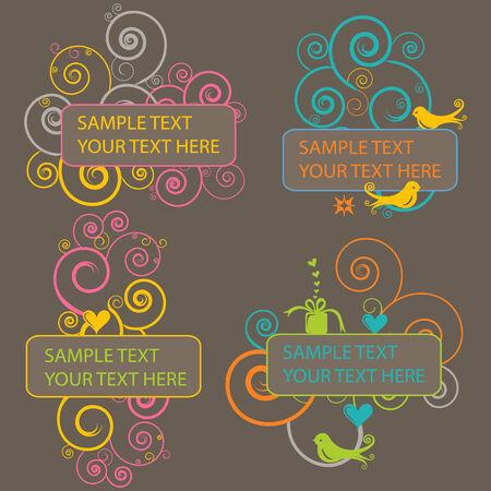 4 Retro Design Elements Illustration