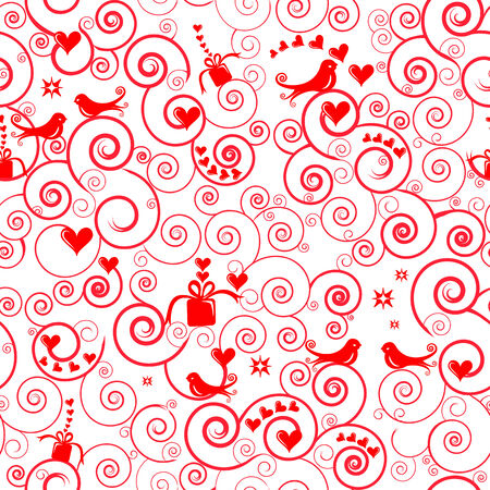 Seamless Heart and Birds Pattern