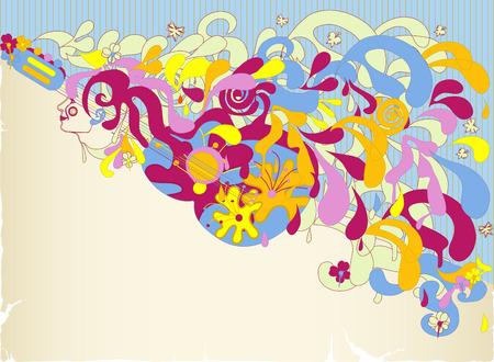 mujer hippie: Chica abstracta y guitarra con coloridos salpicaduras Vectores