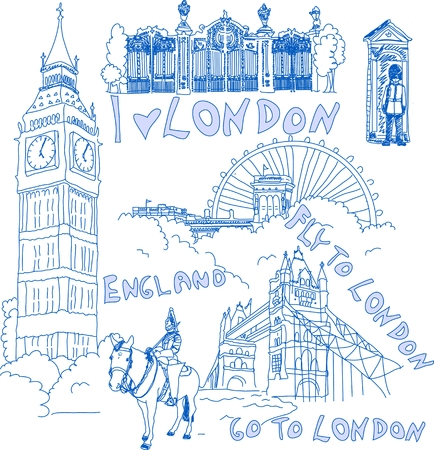 people traveling: London hand drawn doodles