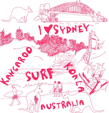 sightseeings: Sydney and Australia Doodles