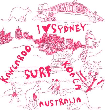 harbour: Sydney e Doodles Australia  Vettoriali