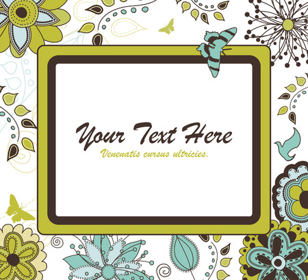 Floral Retro Frame for Your Text