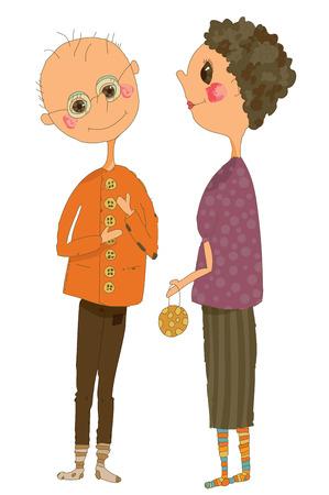 Whimsical illustration of an Older Couple Illustration