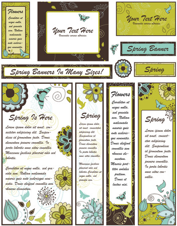 bookmarks: Set of Floral Banners and Adverts in Many Different sizes