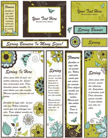 Set van bloemen Banners en advertenties in vele verschillende maten Vector Illustratie