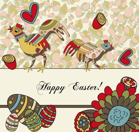 A whimsical card with two easter chickens wishing a Happy Easter