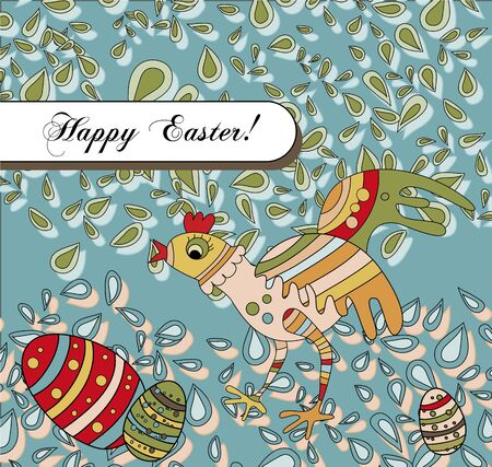 A whimsical card with an easter chicken wishing a Happy Easter Illustration