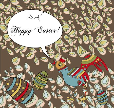 A whimsical card with an easter chicken wishing a Happy Easter Vector