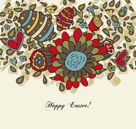 An Easter Greeting Card with Flowers, Eggs and Hearts.