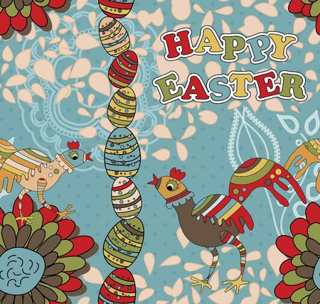 A whimsical seamless pattern with two chickens wishing a Happy Easter Illustration