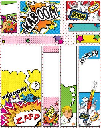 Set of Cartoon Pop Art Style Banners