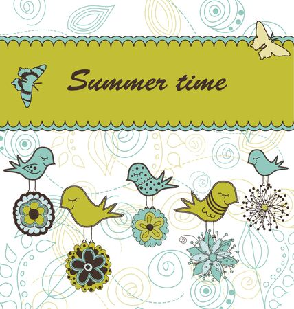 Summer greeting card with birds