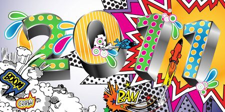 2011 in a Colorful Comic Book Style Stock Vector - 7140905