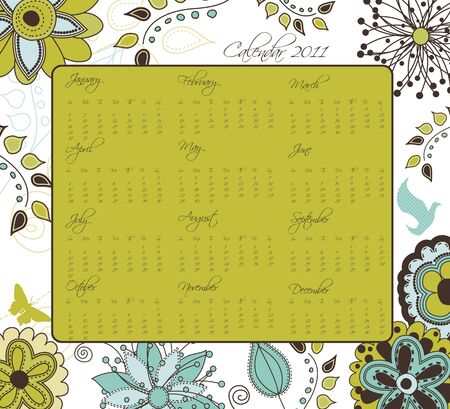 A retro styled floral calendar for 2011.