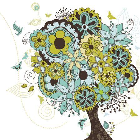 anni settanta: Un creativo illustrazione di un albero pieno di vita e fiori.