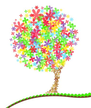 A bright colored stylised tree. The flowers are transparent and overlap eachother. Copy space for your text.