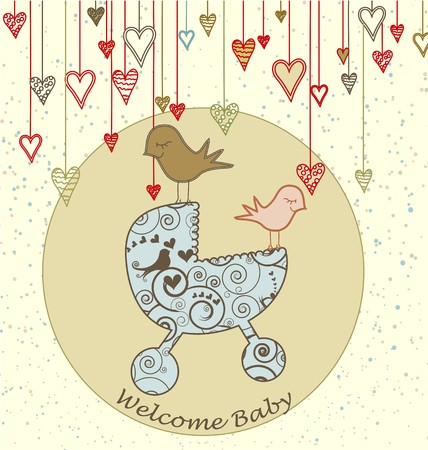 A cute card with birds holding a stroller and hanging hearts.