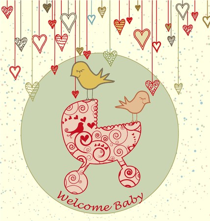 A cute card with birds holding a stroller and hanging hearts. Stock Vector - 7140911