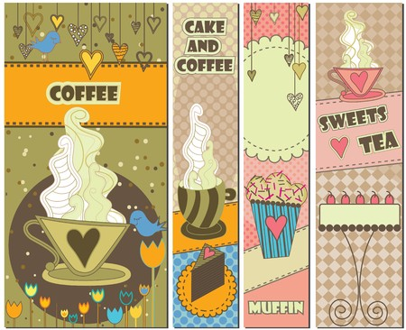 Set of four colorful coffee and dessert banners