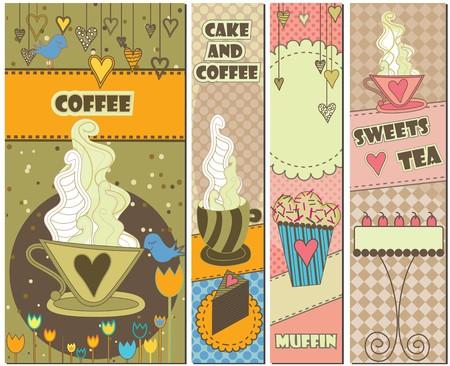 Set van vier kleurrijke banners voor koffie en dessert