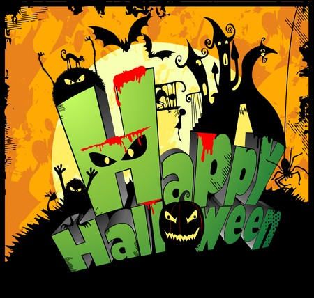 3d type of the text Happy Halloween