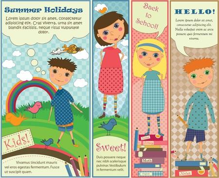 Cuatro lindos pancartas de colores pastel con niños jugando afuera o preparándose para la escuela.
