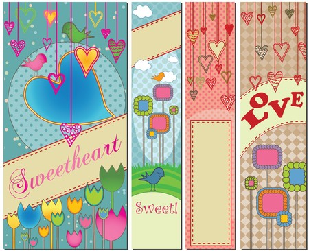 bookmark: Four colorful love themed banners in standard sizes.