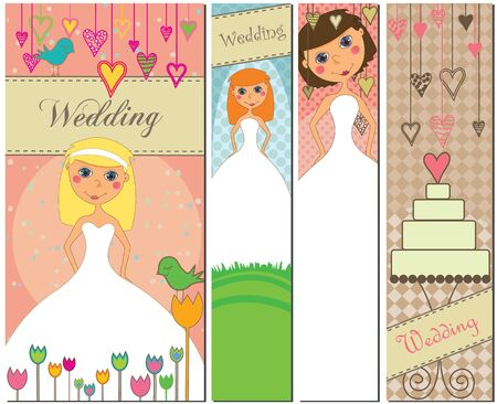 A set of four different wedding banners with brides and a weddingcake.