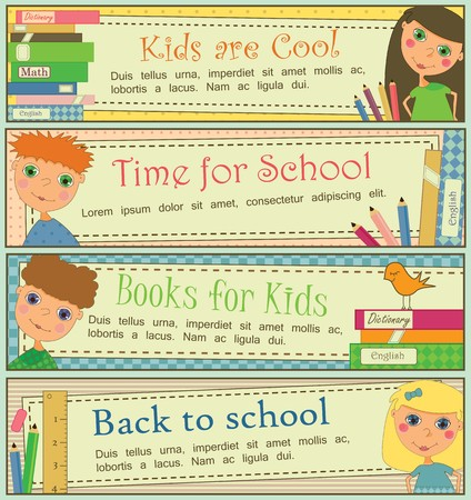 Set of 4 banners with cute kids and books. Vector