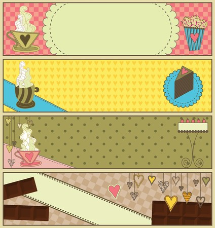 tart: Set of four banners with desserts and coffee. Illustration