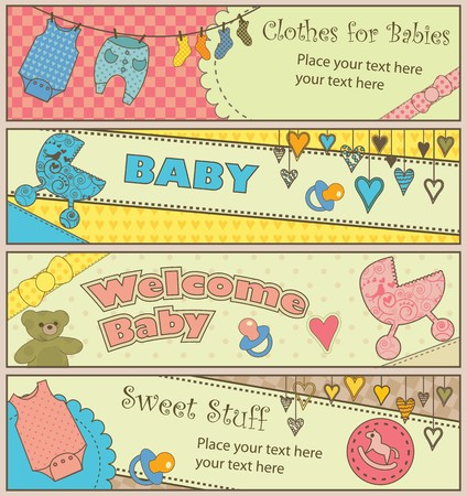 Four colorful baby banners with copy-space. Vector