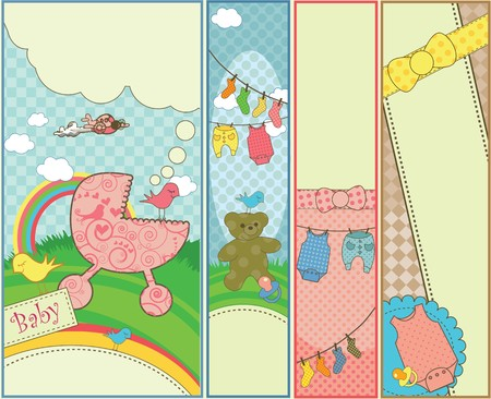 Four colorful baby banners with copy-space.
