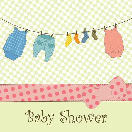A cute card with baby clothes hanging out to dry Illustration