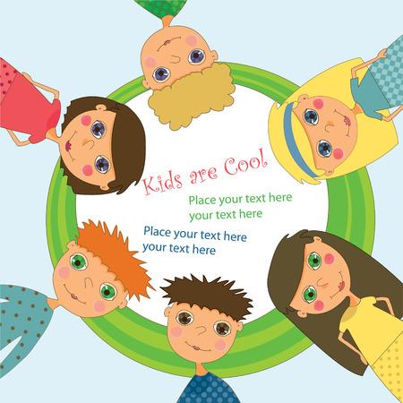 Een ronde frame met kinderen staan rond het  Vector Illustratie
