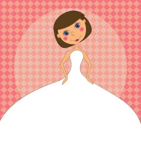 heiraten: Eine Braut in weißen Kleid auf eine Einladung zur Hochzeit.