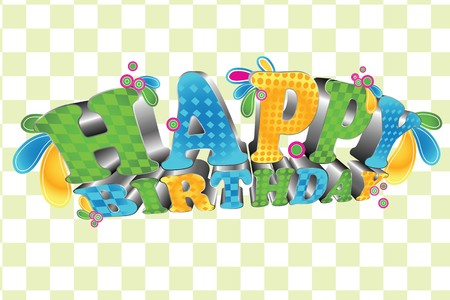A cool 3d type of the words Happy Birthday Stock Vector - 7368216
